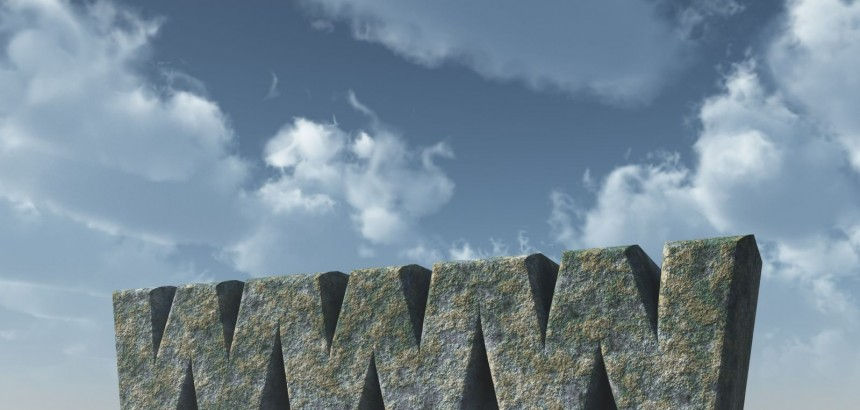 www rock in front of cloudy sky - 3d illustration